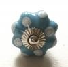 Möbelknöpfe/Porzellanknöpfe blumenform - blau gepunktet - 21