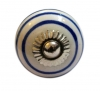 Möbelknöpfe/Porzellanknöpfe Streifen weiss/blau - 30