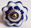 Möbelknöpfe/Porzellanknöpfe blumenform - weiss/blau gestreift  - 7