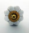 Möbelknöpfe/Porzellanknöpfe blumenform -  uni weiss gold - 28