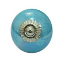 Möbelknöpfe/Porzellanknöpfe rund - uni-  blau  - 5