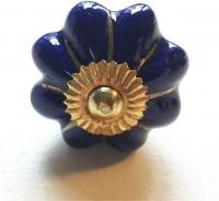 Möbelknöpfe/Porzellanknöpfe blumenform -  uni blau - 10