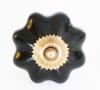 Möbelknöpfe/Porzellanknöpfe blumenform - schwarz - 5