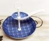 Mini Etagère 2-lagig weiss/blau