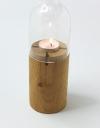 Tischleuchte mit edlem Holzuntersatz ( inkl. Glas)