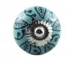 Möbelknöpfe/Porzellanknöpfe Muster -blau/grün - 23