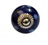 Möbelknöpfe/Porzellanknöpfe Punkte - blau/weiss - 4