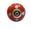 Möbelknöpfe/Porzellanknöpfe Punkte - rot/weiss - 14