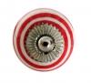 Möbelknöpfe/Porzellanknöpfe Streifen weiss/ rot - 2